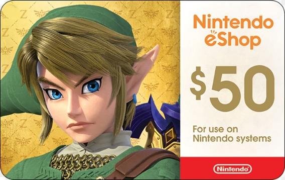 Cartão Nintendo Switch 3ds Wii U Eshop Cash Card 50 Dolares
