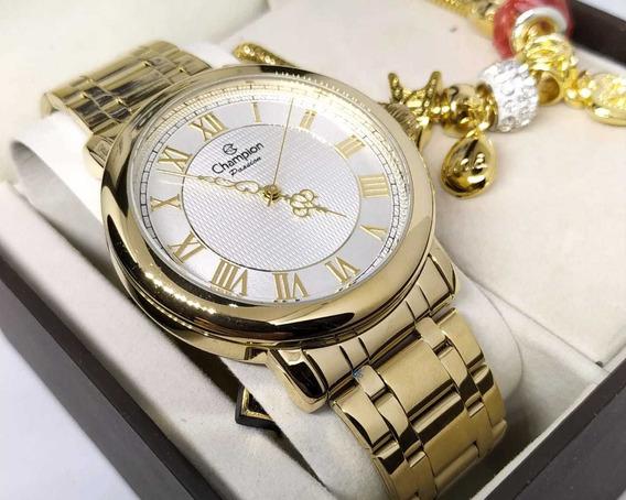 Relógio Champion Banhado A Ouro Cn29936s + Pulseira