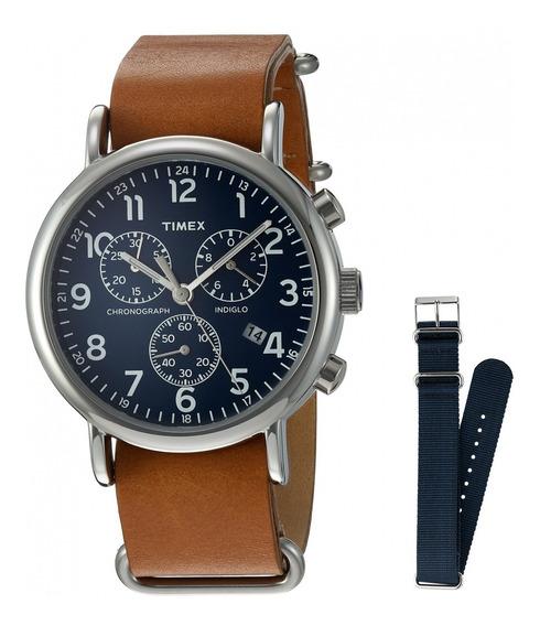 Reloj Timex Hombre 40mm Cronografo Pulsera De Piel Café