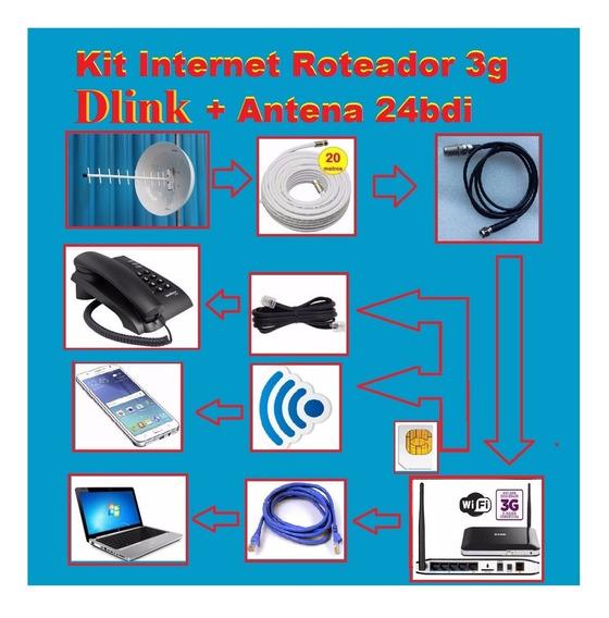 Kit Internet Rural Roteador Dlink 3g + Antena Cúbica 24bdi