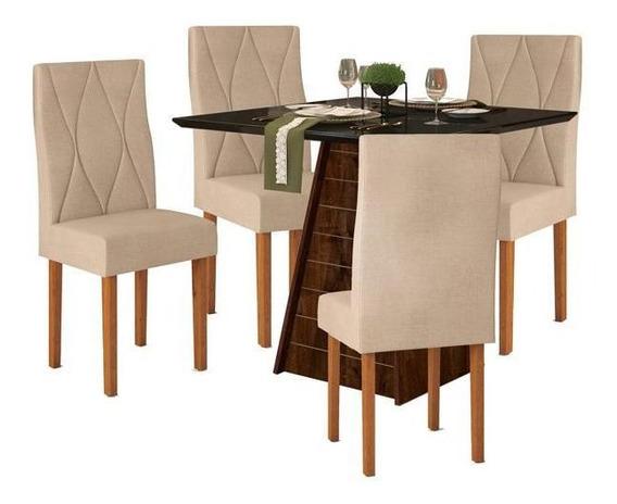 Mesa De Jantar Com 4 Cadeiras Ágata - Dj Móveis Fler