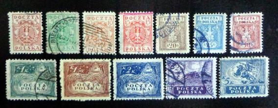 Polonia Sur, Serie Sc. 121-132 Año 1919 Dentada Usada L9008