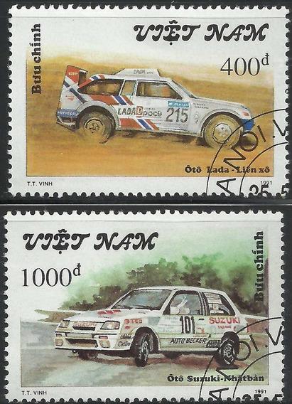 1991 Vietnam Autos De Carreras Oto Lada 2 Sellos Cto Nuevos