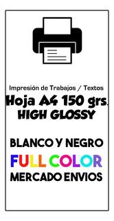 Impresion A4 Color Fotográgico 150 Gr. Trabajos