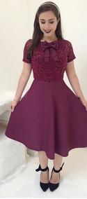 Vestido Luxo Moda Feminina Renda Laço Evangélica Fretegrátis