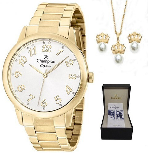 Relógio Champion Feminino Cn26000w + Colar E Brincos