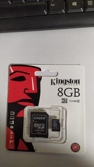 Cartão Memória Micro Sd 8gb Kingston + Adaptador Original