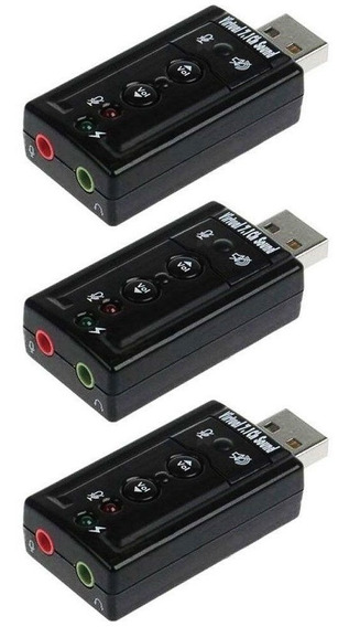 Kit 3x Adaptador Usb Áudio Externo Entrada Fone E Microfone