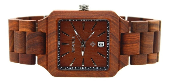 Relógio De Pulso Unissex Em Madeira De Bambu Bewell Quartz.