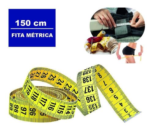 Imagem 1 de 7 de Fita Métrica 150cm Medir Massa Corporal E Tecido Amarela