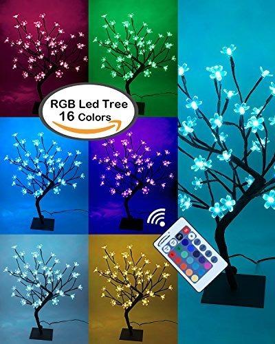 Lightshare 18 Pulgadas Cherry Bonsai Tree Blossom 48 Luces L