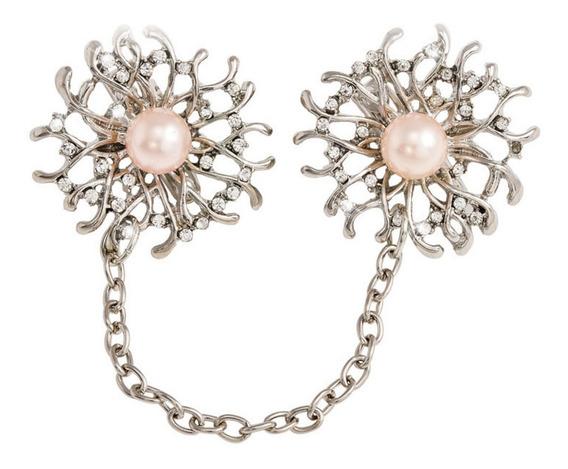 Jóias Diamante Prata Flor Cristal Pérola Broches E