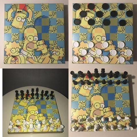 Tabuleiro Xadrez E Damas - Simpsons