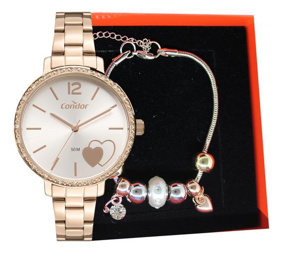 Relógio Condor Feminino Original + Kit Semi Jóia Envio 24 Hs