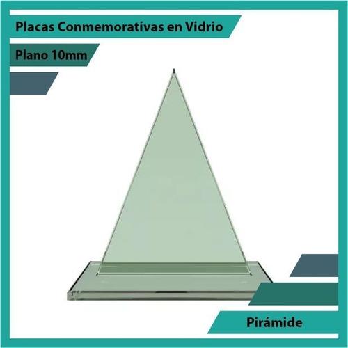 Placas Conmemorativas En Cristal Pirámide Pulido Plano 10mm
