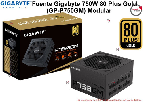 Imagen 1 de 7 de Fuente Gigabyte 750w 80 Plus Gold (gp-p750gm) Modular