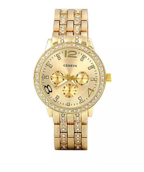 Relógio Feminino Dourado Luxuoso Pulseira Couro Casual Lindo