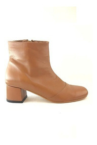 Zapato Mujer Bota Natacha Cuero Marrón Caña Intermedia #333