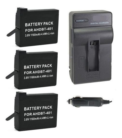 Kit Três Baterias + Um Carregador Filmadora Gopro Hero4 4k