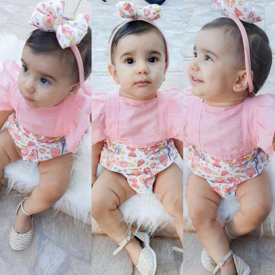 Kit 20 Jardineiras Com Turbante Infantil, Body Feminina Bebê