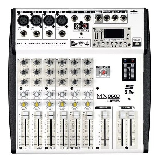 Mesa De Som Staner Mx0603 Usb 6 Canais Bluetooth Phantom