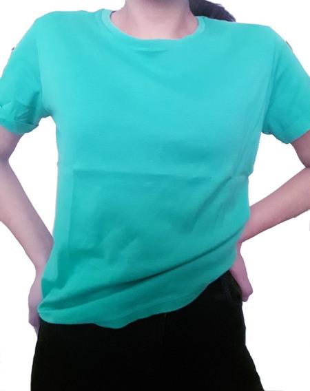 Remera De Mujer Portsaid Algodon Basica Casual Verde M/corta