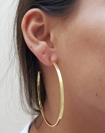 Brinco Argola Grande Achatada Banhado Em Ouro 18k 6cm Joia
