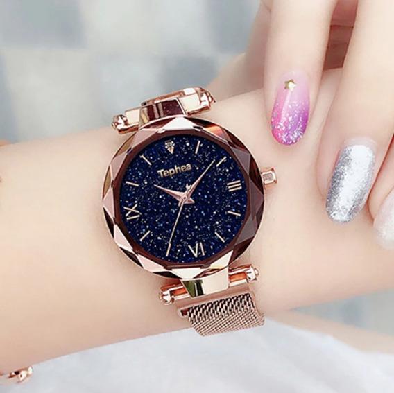 Relógio Feminino De Luxo Céu Estrelado Pulseira Magnética