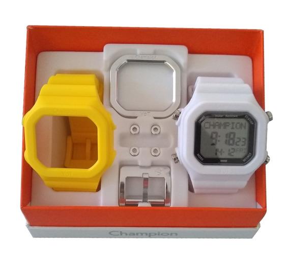 Relógio Champion Yot Original Cp40180x Branco Amarelo