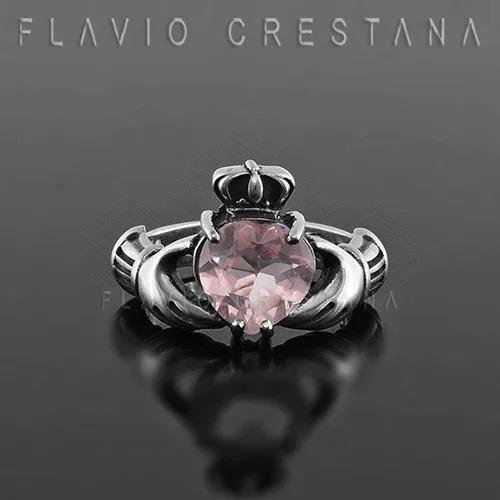 Anel Aliança Claddagh Quartzo Rosa Prata 925 Fp 11053808
