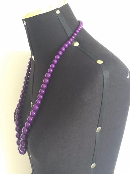 Colar Bolas Resina Cor Púrpura