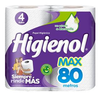 Papel Higiénico Higienol Max Hoja Simple 80 Metros 4 Rollos
