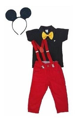 Calça Com Suspensório E Pólo Festa Mickey Tamanhos 1 A 3anos