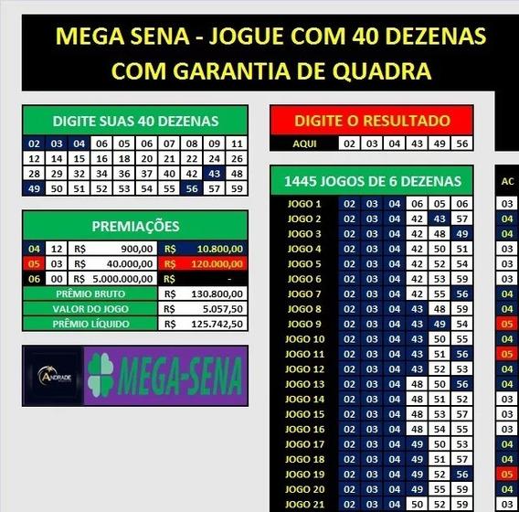 Planilha Da Mega Sena 40 Dezenas Desdobradas Em 1445 Jogos