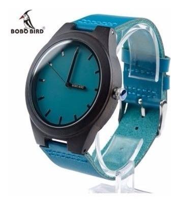Relógio Unissex Madeira L14 Analógico Bobo Bird Azul Lindo