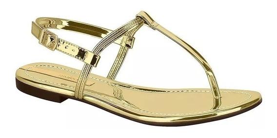 Sandália Moleca Rasteira Metal Glamour Dourado 5419.110