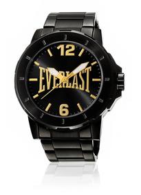 Relógio Everlast Caixa E Pulsiera Aço Resistente A Água