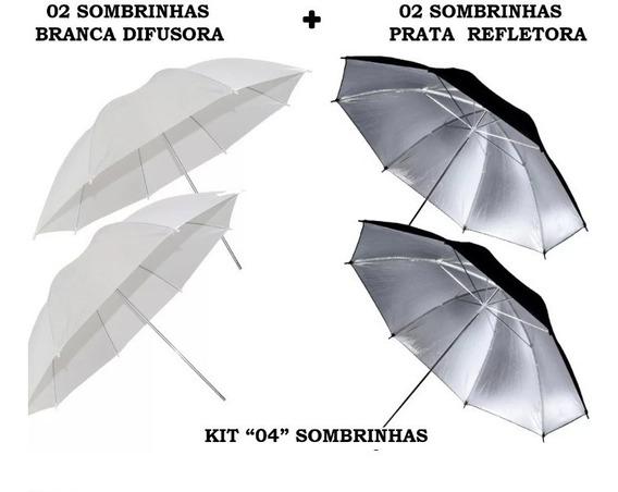 Kit 4 Sombrinhas: 2 Brancas Difusora E 2 Pratas Refletora