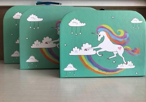 Caixa Decorativa Unicornio Infantil De Papel Porta Treco