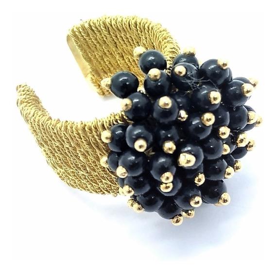 Anel Bouquet Negro Aro Ajustável Banho Ouro 18k 1507
