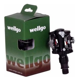 Pedal Mtb Clip Wellgo M919 Com Tacos E Regulagem (par)