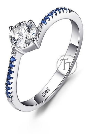 Anillo Solitario Zafiro 0.66 Ct En Plata Esterlina 925