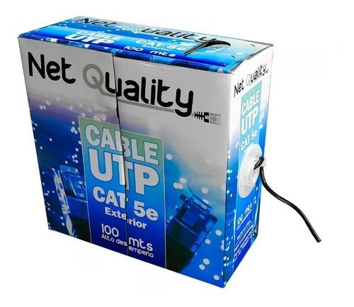 Imagen 1 de 5 de Cable Utp Cat E5 Exterior Rollo 100 Metros Camara Cctv Negro