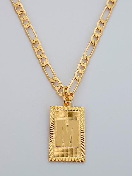 Corrente Cordão 60 Cm Pingente Letra M Banhado Ouro. C60m22