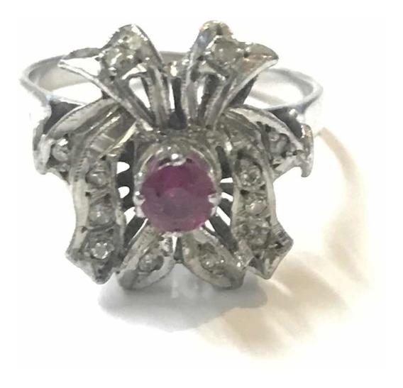 Anillo Con Ruby Y Diamantes 100% Naturales En Paladio Antigu