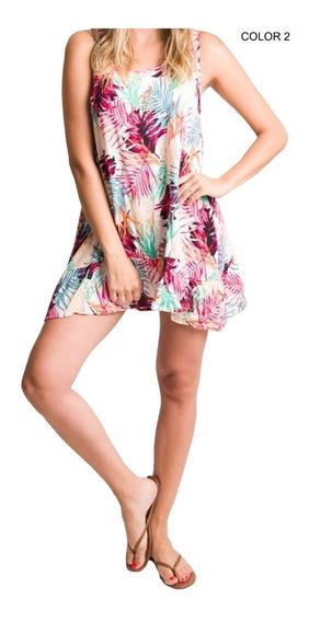 Vestido De Fibrana Estampado Corto 3 Colores