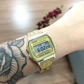 a92b88d411c6 Relogio Casio Retro Vintage Dourado Fundo Preto - Relógios no ...
