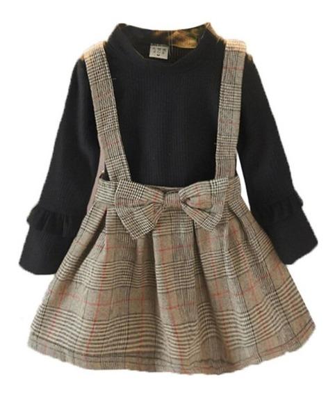 Vestido Infantil De Inverno Manga Longa Xadrez