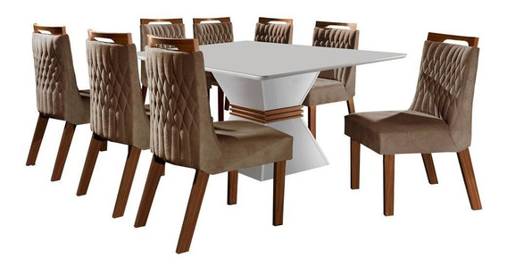Mesa De Jantar Em Mdf Com 8 Cadeiras, Tecido Pena - Lj Móveis Cronos