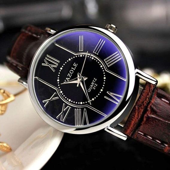 Reloj Elegante De Lujo, Marca Yazole! De Cuero